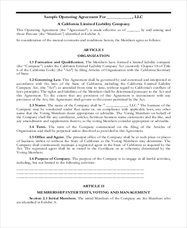 8 sample business operating agreements sample templates