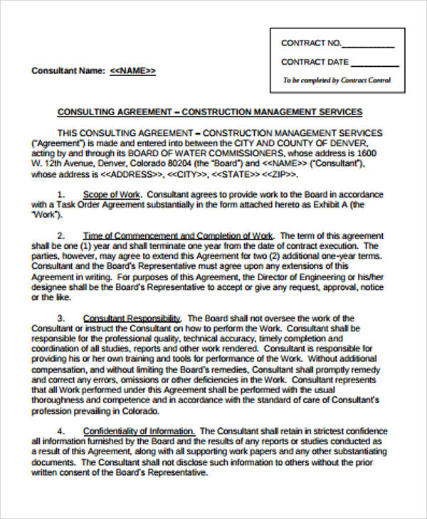 Sample Management Consulting Agreement   Examples In Word Pdf