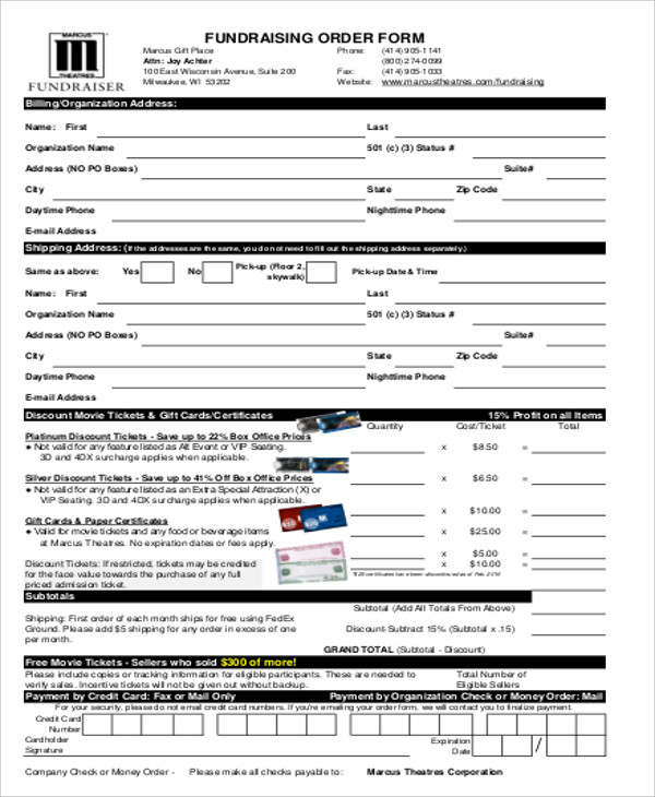 Sample fund raiser order form 9 examples in word pdf sample fundraiser sales order form pronofoot35fo Choice Image