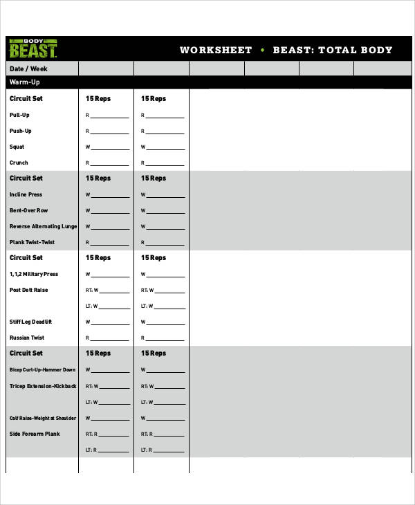 Sample Gym Workout Sheet   Examples In Word Pdf
