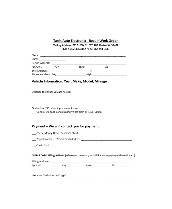sample auto repair order form
