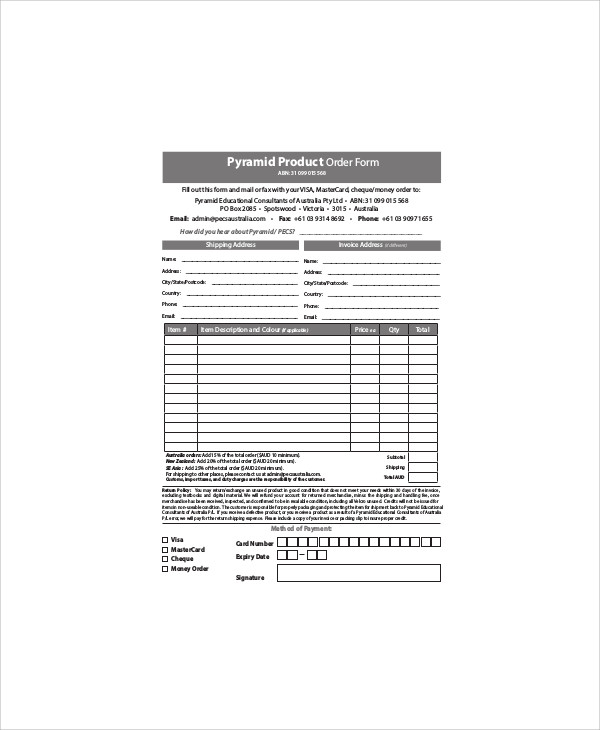 pyramid product order form