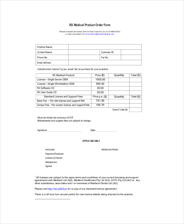 Sample Product Order Form   Examples In Word Pdf