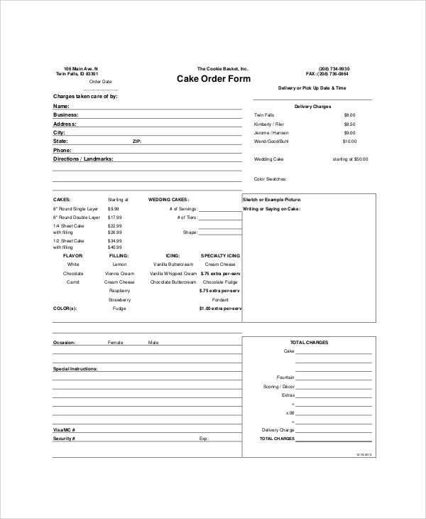 image about Cake Order Forms Printable called Pattern Cost-free Printable Obtain Kind - 9+ Illustrations within Term, PDF