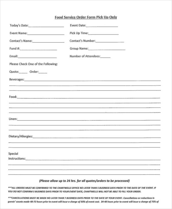 Simple Food Service Order Form