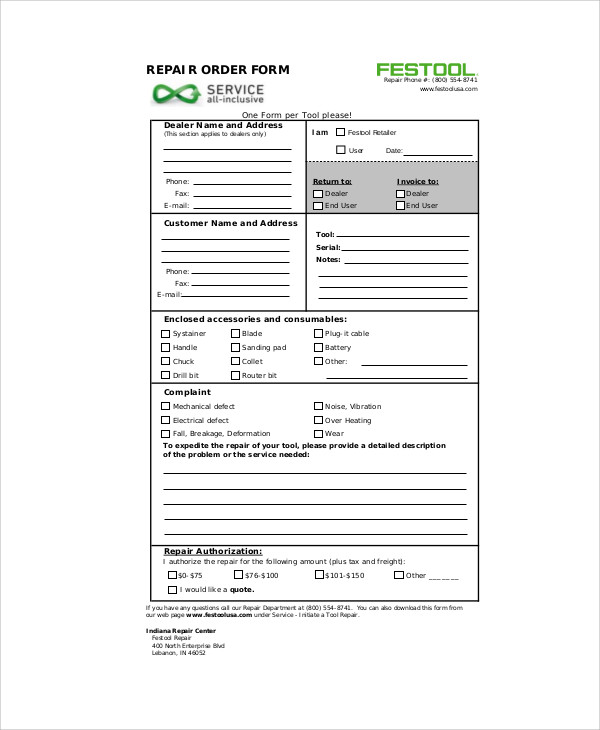 Sample Repair Order Form - 9+ Examples In Word, Pdf