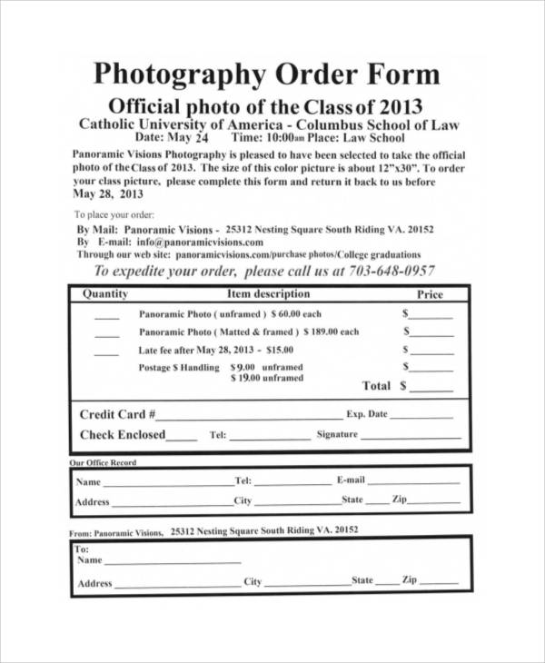 free printable photography order form