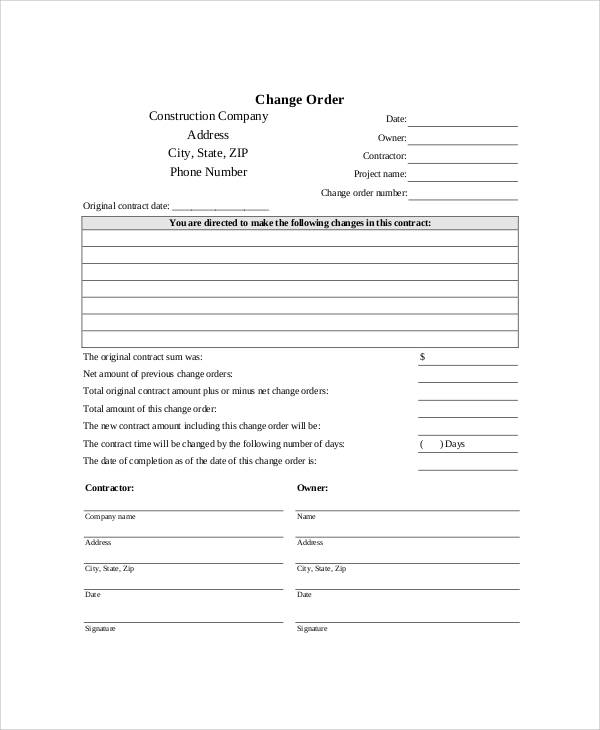 photo relating to Free Printable Construction Change Order Forms titled Pattern Free of charge Printable Get Kind - 9+ Illustrations inside of Phrase, PDF