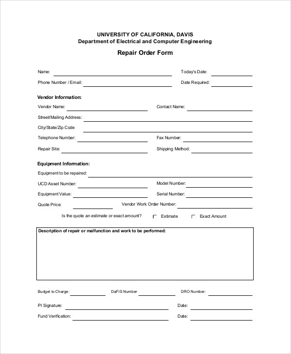 9 sample repair order forms sample templates for Equipment order form template