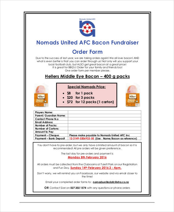 free printable fundraiser order form