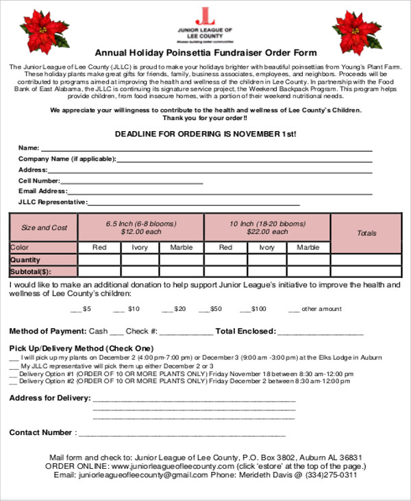 annual holiday fundraiser order form