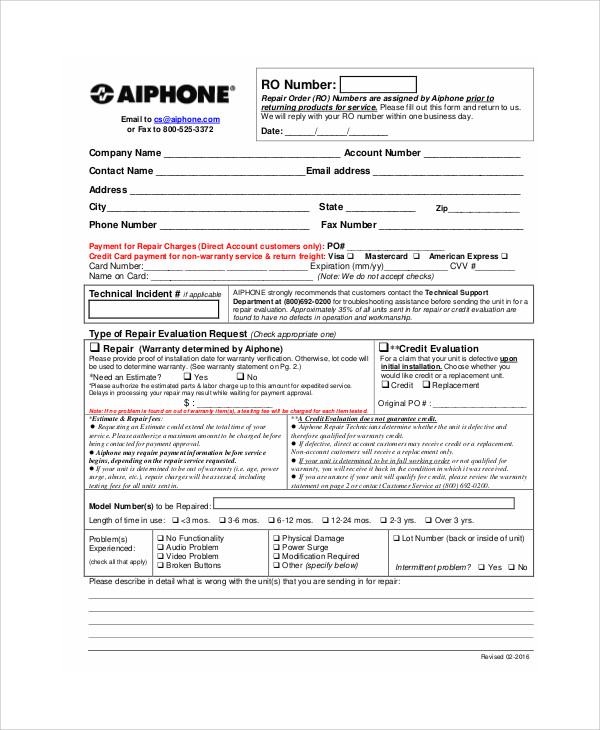 product repair order form