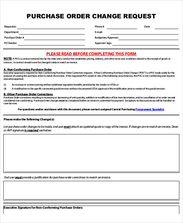 Purchase Order Change Request Form Pdf  Purchase Order Form Template Pdf