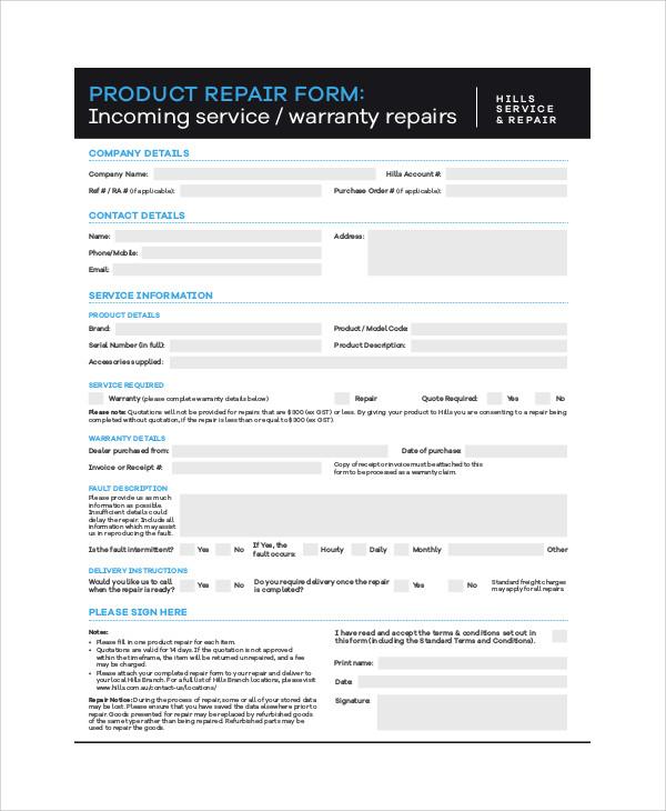 repair service order form