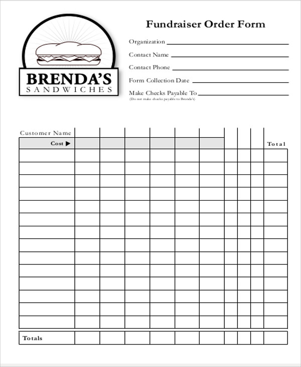 Sample FundRaiser Order Form   Examples In Word Pdf