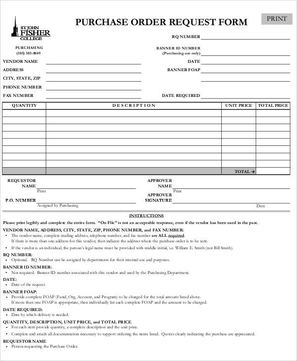 sample purchase order request form