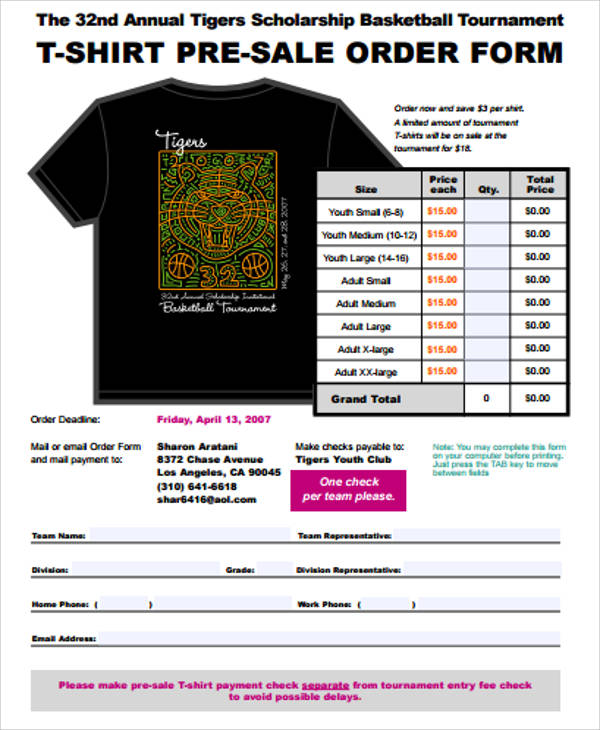 T-Shirt-Pre-Sale-Order-Form T Shirt Order Form Example on high school, printable pdf, template microsoft word,