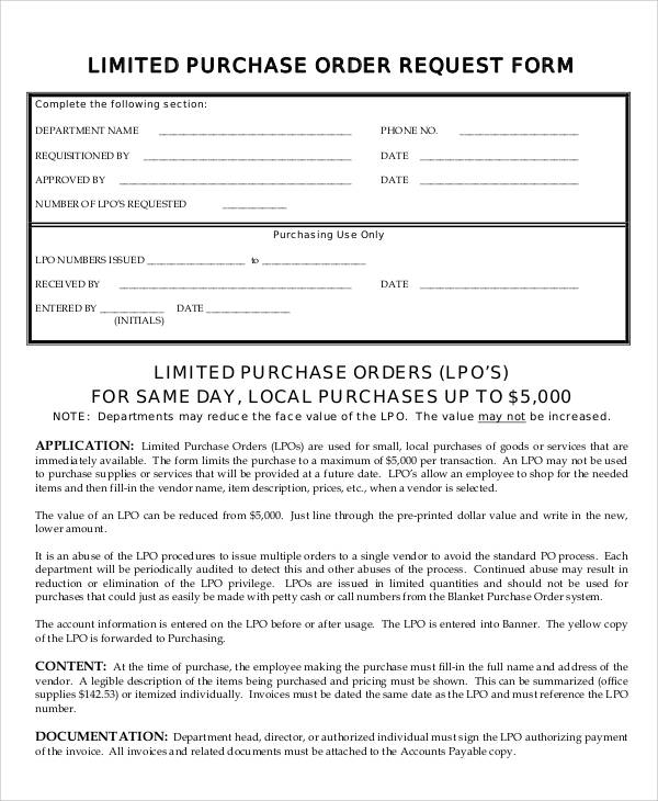 Sample Purchase Order Request Form 8 Examples in Word PDF – Sample Local Purchase Order