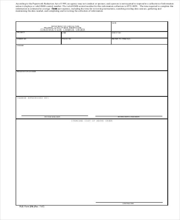 construction change order template excel