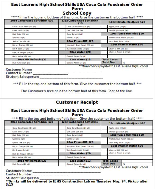 school fundraiser order form