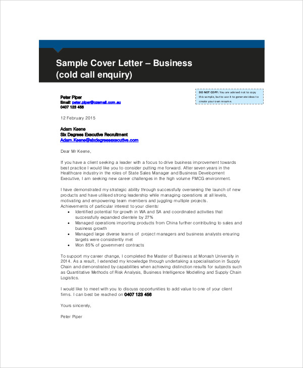 Sample Business Enquiry Letter 7 Examples in Word PDF – Enquiry Letter Format