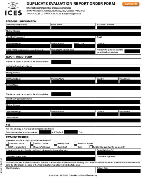 duplicate evaluation reprot order form