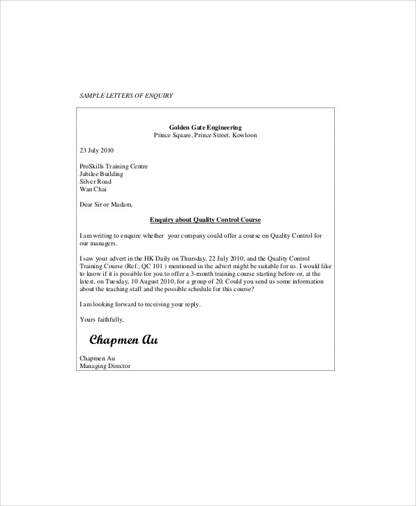 Business Enquiry Letter Example  Format Of Letter Of Enquiry