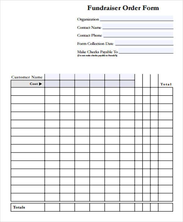 Sample Blank Order Form   Examples In Word Pdf