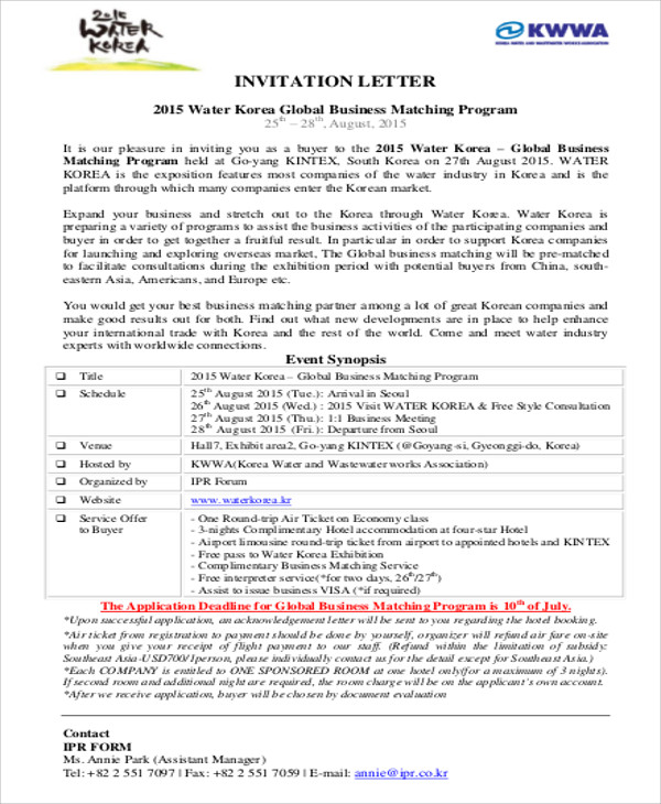 Sample Business Invitation Letter 6 Examples in Word PDF – Event Invitation Letter Template