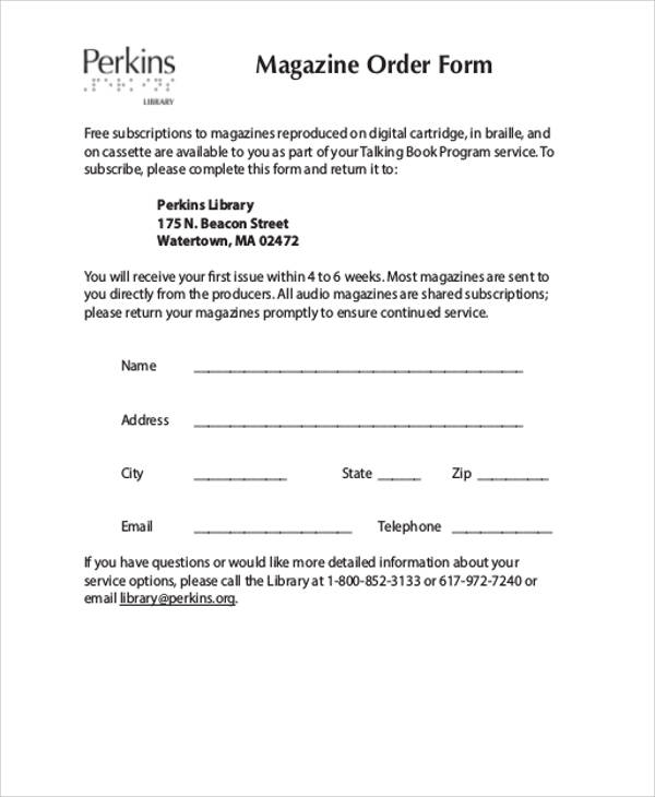 magazine order form pdf