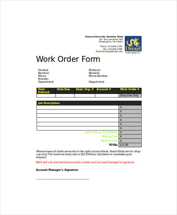 work order form in word