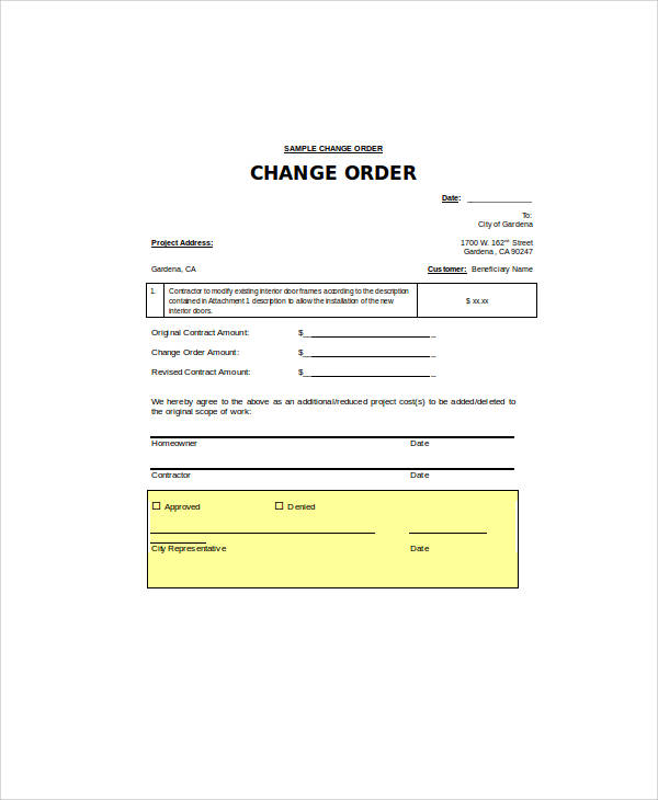Change Order Form  WowcircleTk
