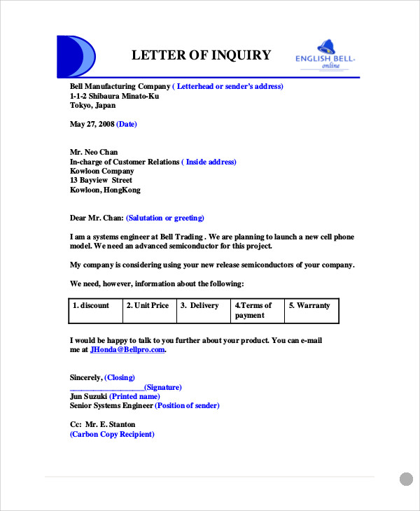 Sample business enquiry letter 5 examples in word pdf business product enquiry letter expocarfo