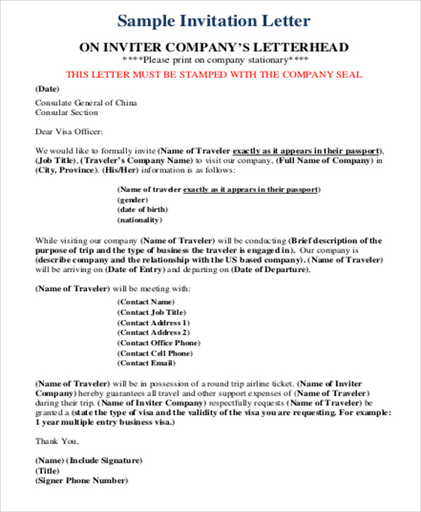 Sample Business Invitation Letter   Examples In Word Pdf