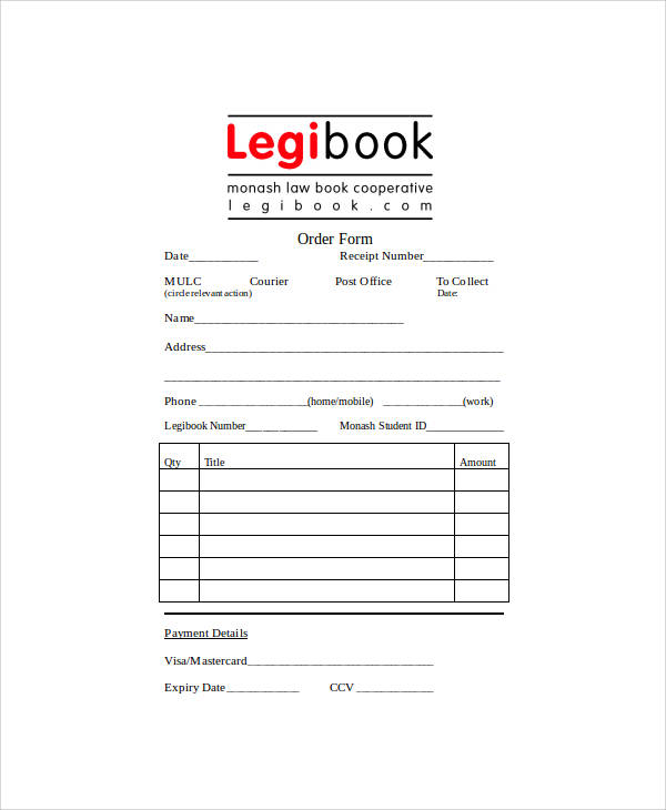 book order form doc