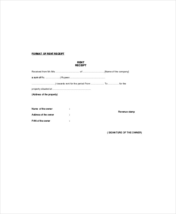 sample rent receipt form