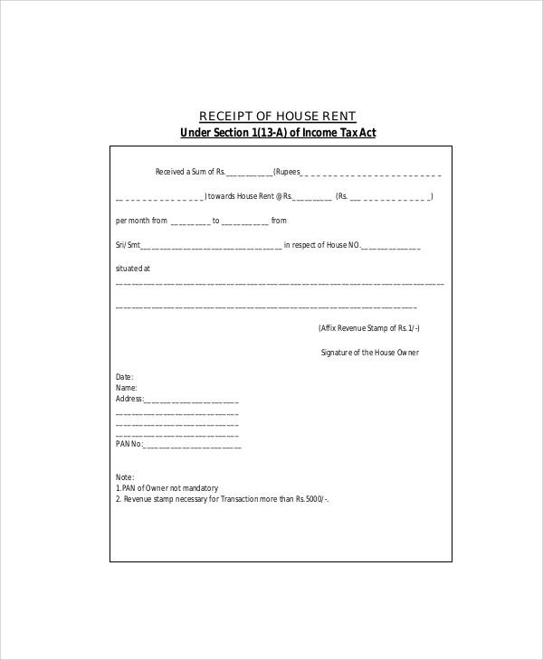 Sample Rent Receipt Formats 9 Examples in Word PDF – Rental Slip Format