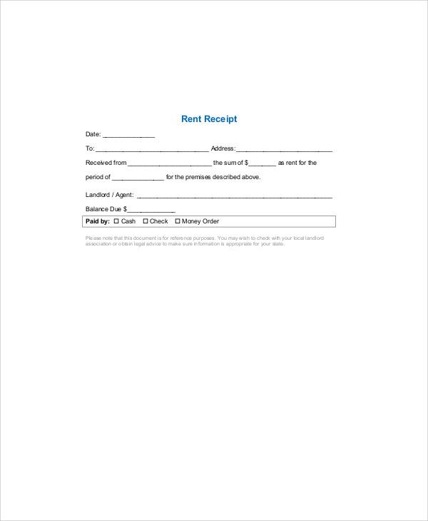 rent receipt format example