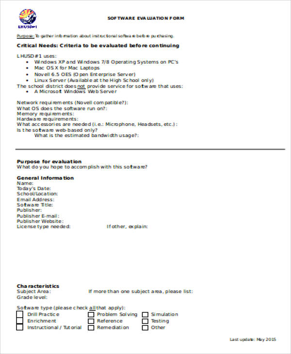 Sample Software Evaluation Form   Examples In Word Pdf