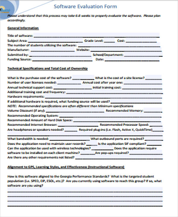 simple software evaluation form