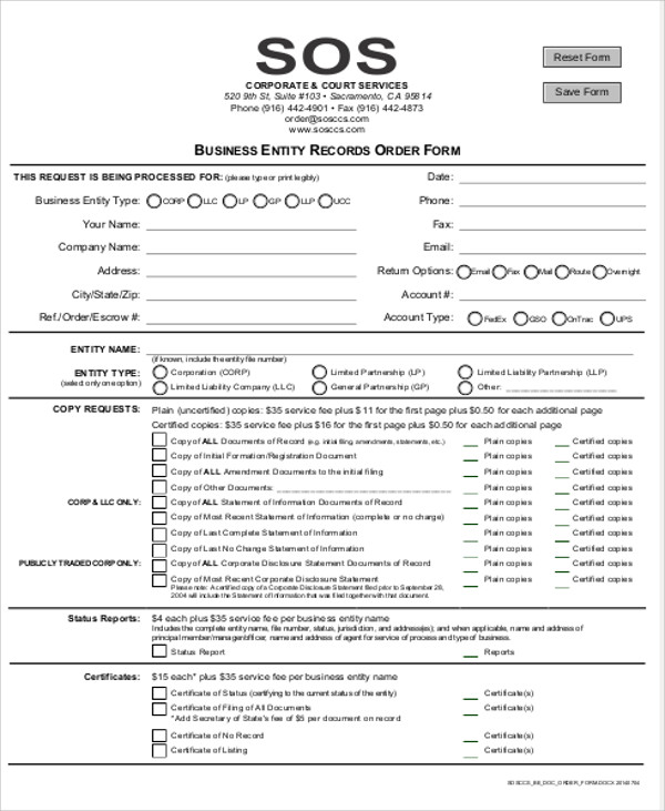 Sample Business Order Form - 9+ Examples In Word, Pdf