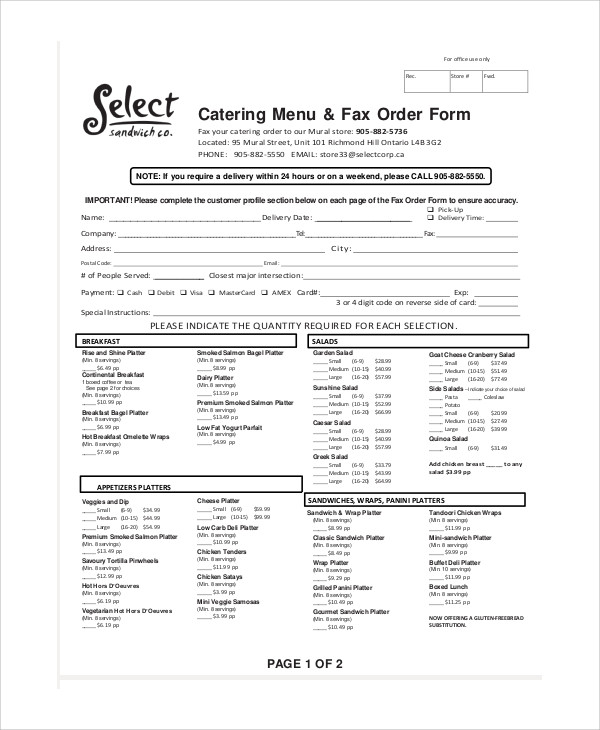 Sample Catering Order Form   Examples In Word Pdf