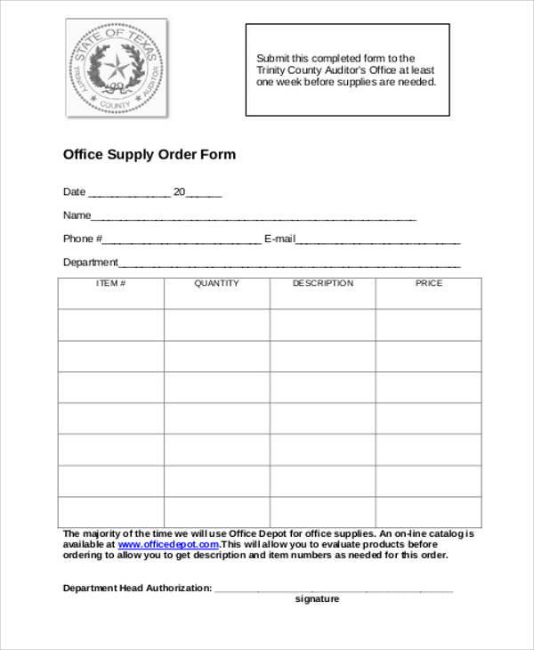 supply order form