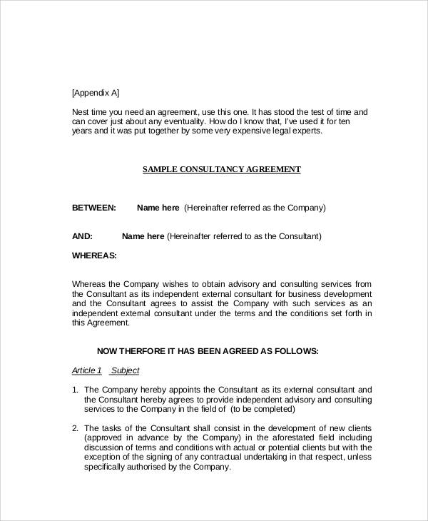 Consulting Agreement Contract Samples   Examples In Word Pdf