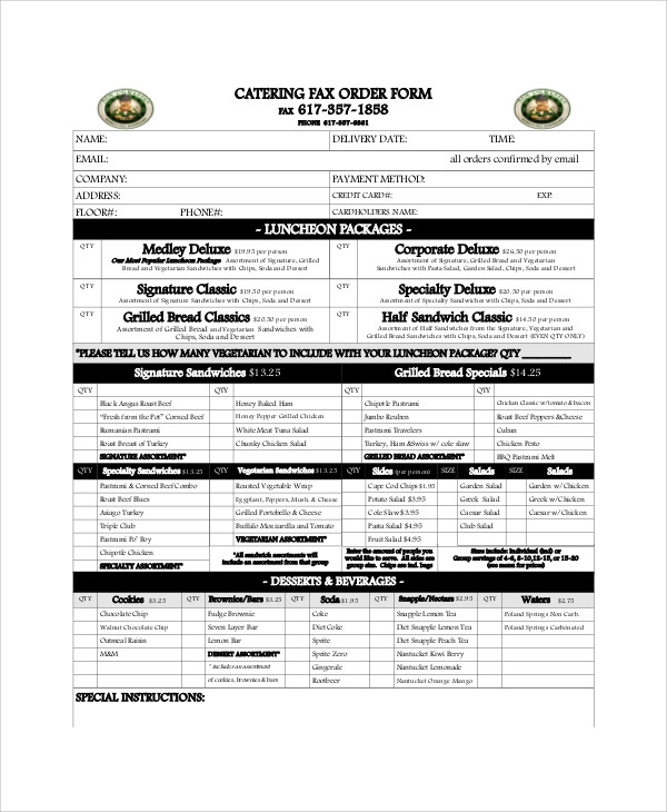 catering fax order form