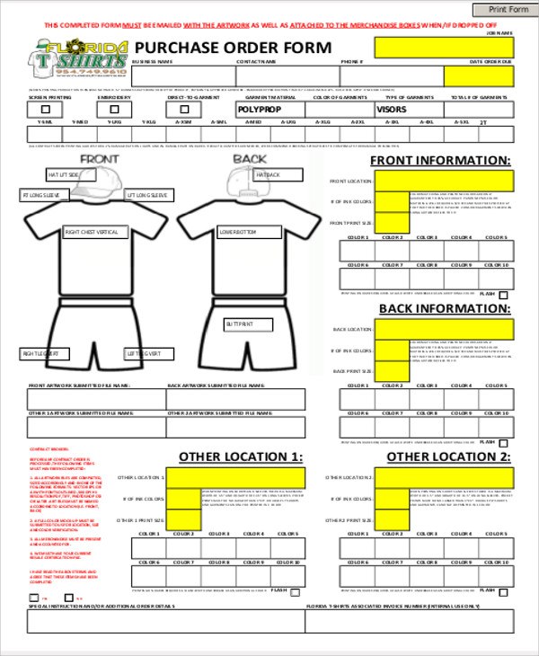 9 sample business order forms sample templates t shirt business order form cheaphphosting Images