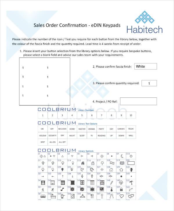 customer keypad order confirmation form