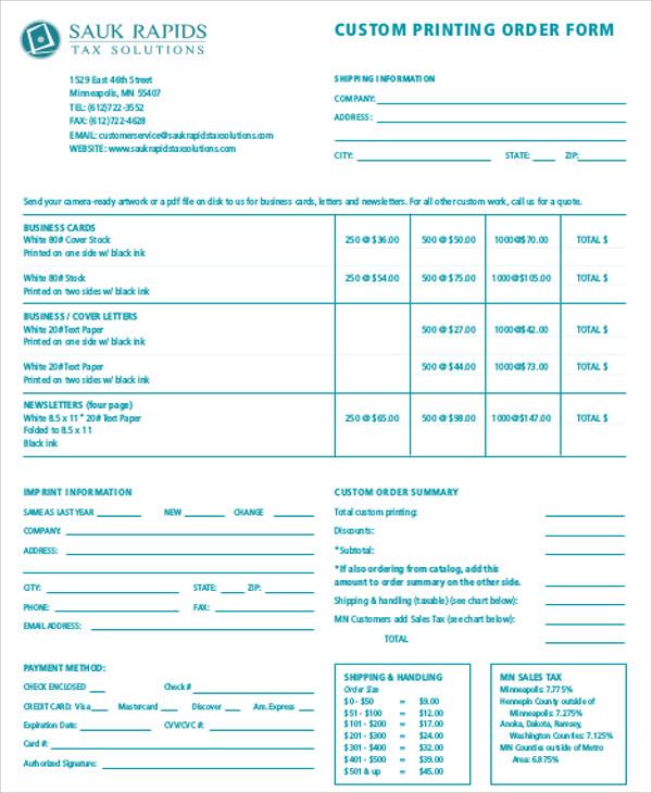custom business order form