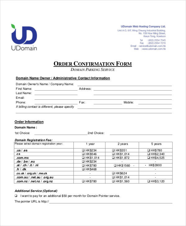 order confirmation form example