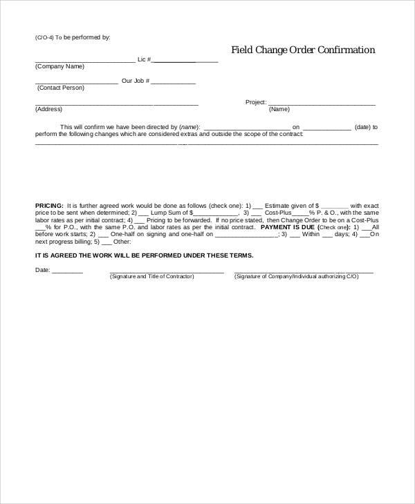 field change order confirmation form